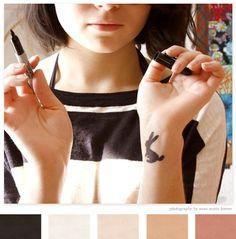 by Anna Maria Horner via creature comforts Bunny Tattoos, Rabbit Tattoos, Tattoo Inspiration, Color Inspiration, Creative Inspiration, Small Tattoos, Cool Tattoos, Tatoos, White Rabbit Tattoo