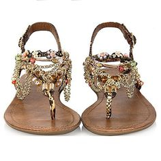 2014 New Fashion Bohemia style Fashion women ladies flat heels diamonds sandals flat shoe multicolor Beaded women Shoes £21.09