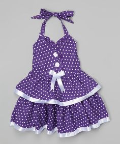 This Purple Polka Dot Halter Dress - Toddler & Girls by Lele for Kids is perfect! Toddler Girl Dresses, Toddler Girls, Baby Girls, Girl Closet, Toddler Fashion, Kids Wear, Cotton Dresses, Kids Outfits, Polka Dots