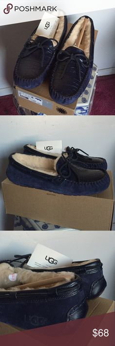 New Authentic UGG moccasins Nice navy blue crocodile front and suede material UGG Shoes Moccasins
