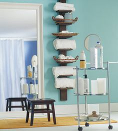 Roll It Out If your bathroom is short on surface space for your toiletries, employ a small rolling cart that can be placed near the sink or rolled to the tub when needed. If that's not practical, go vertical with storage. This narrow ladder-style shelf is just the thing to hold toiletries and fresh towels in a small space where even a conventional towel bar might not fit.