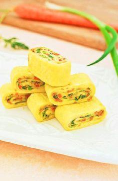 Low FODMAP Recipe and Gluten Free Recipe - Vegetable omelette rolls    http://www.ibs-health.com/low_fodmap_vegetable_omelett_rolls.html