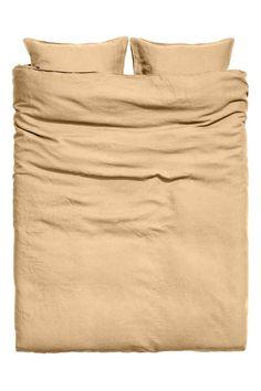 Постельное белье, стираный лен - Светло-горчичный - HOME   H&M RU 1