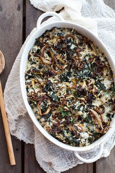 Gruyère, mushrooms, and caramelized onions add umami oomph to a kale and wild rice casserole, via @hbharvest