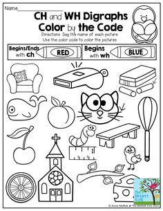 Ch and Wh Digraphs- Color by the Code.  FUN and engaging activities to help with fluency!