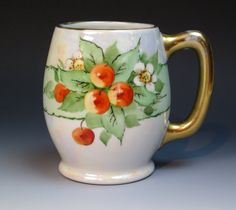Antique Hand Painted Limoges Mug with Cherries, Jean Pouyat Mark (ca 1905+), Porcelain Tankard, Stein, Limoges, Belleek Mug, Rosenthal Mug