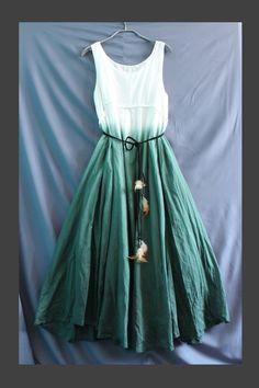 Change Tone Cotton Maxi Dress Two Way Wear with Pocket Green Women Dress. via Etsy.