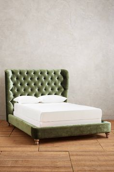 Anthropologie Slub Velvet Tufted Wingback Bed