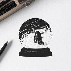 Windy night - Blackwork Series.  #ariarosso #illustration #sketch #drawing #tattoo