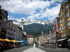 Innsbruck, Austria.  How can you not love shopping in the streets of Innsbruck or sit sipping your cafe with a background of the Alps...Absolutely loved the culture while staying there.