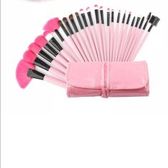 24 Pink Makeup Brushes & Case 100% High Quality Synthetic Hair Color: Pink 100% brand new and high quality Total 24 brushes for facial makeup: Foundation Brush, Concealer Brush, Eyeshadow Brush, Eyebrow Brush, Blush Brush, Lip Brush, Mascara Brush.Adopts natural pure Synthetic hair which provides superb ability to hold powder, soft and pleasing for your skin. An essential for not only professionals but also DIY users. A professional quality brush set which includes all the basics you need…