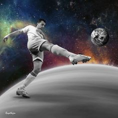 football, player, space, galaxy