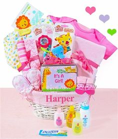 """Teether Toy,2 Printed Receiving Blankets (Prints May Vary),Jungle Wrist Rattles, Baby Booties,Super Soft Minky Security Blanket 15x15"""",Printed Sleep & Play (Prints May Vary),Printed Romper (Prints May Vary),Baby Essentials Gift Tin which includes:Johnson's Baby Lotion,Johnson's Baby Bath,Johnson's Baby Powder,Johnson's Baby Lotion,Johnson's Baby Shampoo,Desitin Diaper Cream,Scratch Mittens,Coordinating Gift Card,Willow Basket (Can Be Personalized)"""