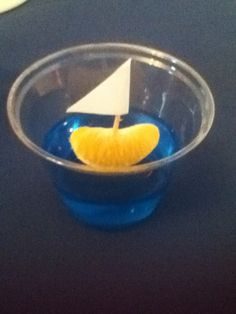ahoy it's a boy baby shower: blue jello with clementine sailboat Baby Shower Fun, Baby Shower Parties, Baby Shower Themes, Shower Ideas, Sailor Baby Showers, Sailor Birthday, Nikki Baby, Baby Shower Decorations For Boys, Baby Party