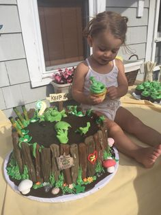 Shrek Cake - buddy baked a cake for his niece's 2nd birthday - pretty awesome