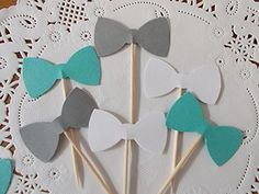 Teal White and Grey Bow Tie Cupcake Toppers - Food Picks - Party Picks - Baby Shower Toppers - Wedding Toppers (Set of 24)