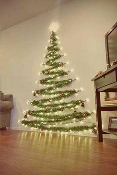 Beautiful Space Saver Wall Christmas Tree Diy Christmas Decorations, Diy Christmas Lights, Wall Decorations, Decorating With Christmas Lights, Beautiful Christmas, Simple Christmas, Christmas Ideas, Cheap Christmas, Scandinavian Christmas