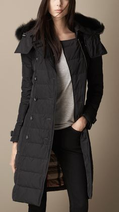 Down-Filled Burberry Coat with Trim