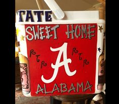 COOLERSbyU Painted Cooler Examples | Sweet Home Alabama Cooler | Tags: alabama, university of alabama, roll tide, college, cooler Painted Coolers, Fraternity Coolers, Cooler Painting, Sweet Home Alabama, University Of Alabama, Grad Parties, Roll Tide, Painting Inspiration, Create