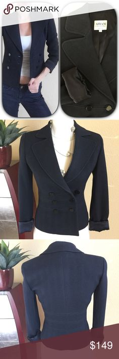 """Armani Collezioni⚜️Dark navy textured blazer Armani Collezioni⚜️Dark navy textured blazer/jacket. Double button front styling and fully lined. Wonderful condition.  Measures 23.5"""" long 16.5"""" across bust and 24"""" long sleeves Armani Collezioni Jackets & Coats Blazers"""