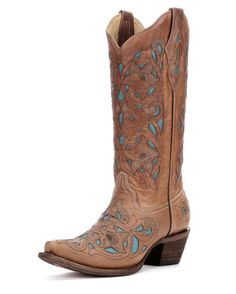 Corral Women's Tan Floral Turquoise Inlay Cowgirl Boots   http://www.countryoutfitter.com/products/27469-womens-tan-floral-turquoise-inlay-boots-a1952
