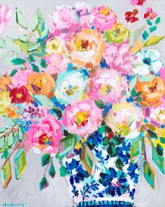 We Came for the Cake Print - C. Brooke Ring - perfect floral painting for my home office! - peonies in blue and white ginger jar - colorful flower painting Art Floral, Floral Prints, Canvas Art, Canvas Prints, Abstract Flowers, Gouache, Flower Art, Art Projects, Art Drawings