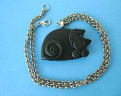 Fimo Polymer Clay Black Cat Necklace by Coloraudia on Etsy