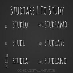 Learning Italian Language ~ studiare   to study