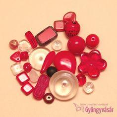 Piros-átlátszó vegyes cseh gyöngy, 15 g Diy Jewelry, Beads, Diy Jewelry Making