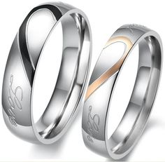 Wedding Ring Set Titanium Ring Engagement Bands Matching Pair Stainless Steel | eBay