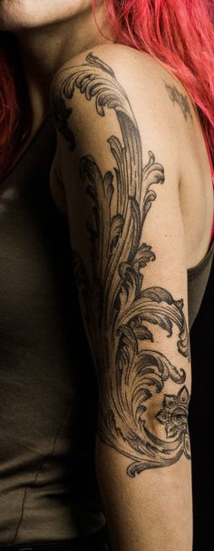 Acanthus Leaf Tattoo By JC Spooky Needle - Art'on (Alès,FR)  http://jc-spookyneedle.tumblr.com/ #tattoo #leaf #acanthus