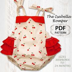 PDF Sewing pattern for romper sunsuit, Baby sewing pattern for baby girls toddler,Infant Newborn, Baby clothes, Isabella Romper. $7.50, via Etsy.
