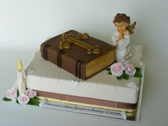 Christening cake for Victor Communion Cakes, First Communion, Book Cupcakes, Name Day, Themed Cakes, Amazing Cakes, Sweet Treats, Decorative Boxes, Sweets