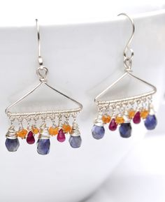 """Fun sterling silver """"hanger"""" earrings with iolite, genuine ruby and mandarin garnet! Quirky.Fantastic.Love."""