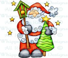 Santa & Tree - Christmas Images - Christmas - Rubber Stamps - Shop