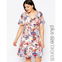 Club L Plus Skater Dress With Kimono Sleeves In Floral Print ($30) ❤ liked on Polyvore featuring dresses, white, white floral kimono, kimono sleeve dress, women plus size dresses, floral skater dress and white kimono