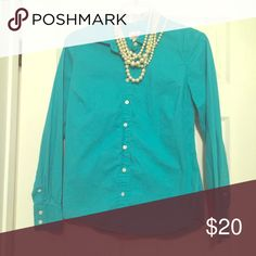 JCrew Haberdashery shirt JCrew hab shirt. Worn once. Fitted and pleated. Teal color. J. Crew Factory Tops Button Down Shirts