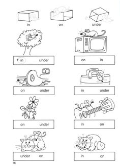 in on under worksheets for kindergarten place prepositions worksheet 1 bw version teacher resources ideas, in on under worksheets for kindergarten English Worksheets For Kindergarten, English Grammar Worksheets, 1st Grade Worksheets, School Worksheets, Writing Worksheets, Grammar Lessons, In Kindergarten, English Teaching Materials, Learning English For Kids