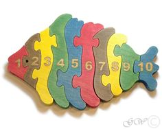 Wooden Puzzle Fish, Wooden toys. Wooden Animal Puzzle, Numbered Fish Puzzle M224 by GreenWoodLT on Etsy https://www.etsy.com/listing/168726440/wooden-puzzle-fish-wooden-toys-wooden