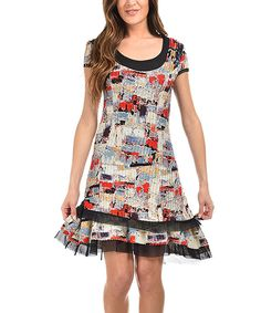 Look what I found on #zulily! Cicero Black & Red Geometric Shift Dress by Cicero #zulilyfinds