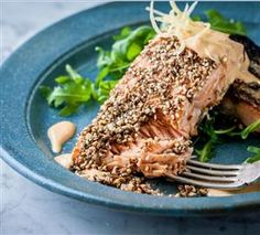 Dukkah Crusted Salmon with Lemon and Lobster Dressing