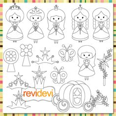 Princess digital stamps. Great for card making, digitized embroidey pattern, coloring, and more fun porjects!