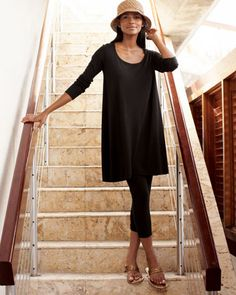 Scoop-Neck Tunic & Cropped Leggings, Petite by Joan Vass at Neiman Marcus.