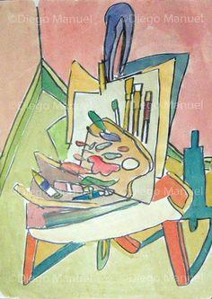 """caballete cubista"", acuarela, 25 x 20 cm. By Diego Manuel"
