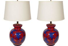 Italian Red & Blue Ceramic Lamps, Pair $949.00 Pair of 1970s Italian ceramic table lamps with red and blue hand-painted grape motifs. Signed on base. Rewired with brass hardware and French black silk twist wire. Shades not included.