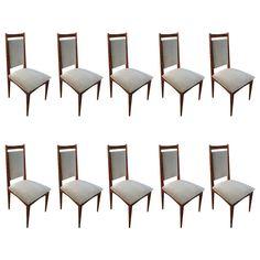 Set of Ten Brazilian Jacaranda Dining Chairs