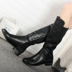 Womens Round Toe Suede Pu Stitching Knee-High Boots Fashion Flat Boots