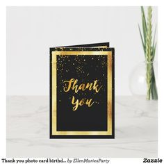 Shop Thank you photo card birthday black gold confetti created by EllenMariesParty. 60th Birthday Party, Birthday Cards, Thank You Photos, Customizable Gifts, Gold Confetti, Custom Thank You Cards, Photo Cards, Your Cards, Wedding Cards