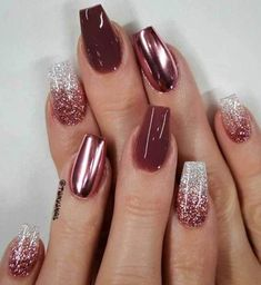39 Trendy Fall Nails Art Designs Ideas To Look Autumnal & Charming - autumn nail art ideas , nails Nägel Ideen ongles Red Stiletto Nails, Red Acrylic Nails, Coffin Nails, Matte Nails, Black Nails, Red Glitter Nails, Dark Color Nails, Nail Colour, Aycrlic Nails