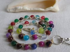 Multicolor Jade  Stretch Bracelet by CloudsOfFantasy on Etsy, $18.00